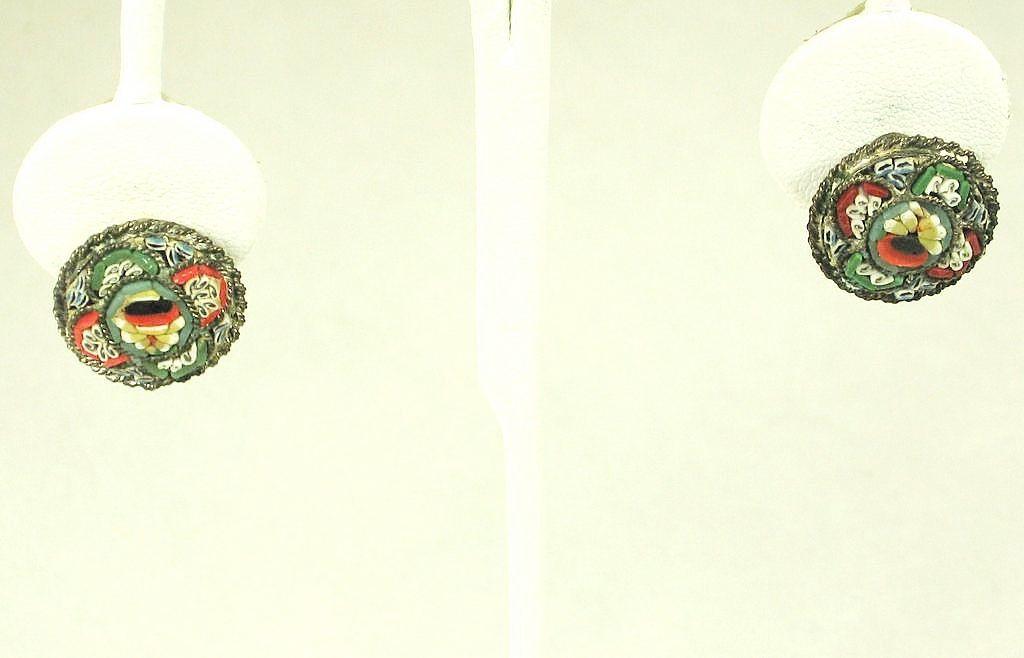 Vintage Italian Mosaic Floral Earrings