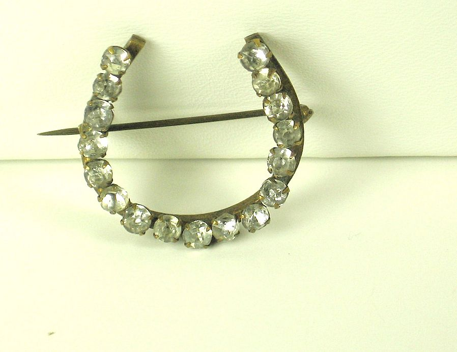Antique Victorian Brass and Rhinestone Horseshoe Pin
