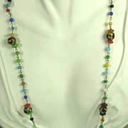 Vintage Millefiori Glass Floral Necklace