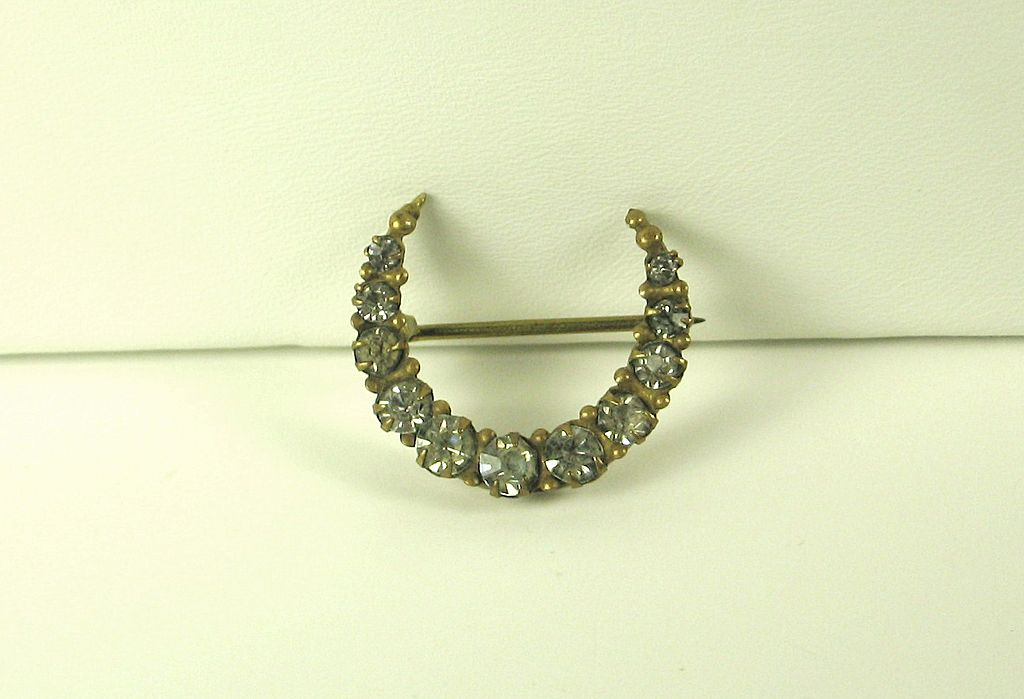 Vintage Crescent Moon Shaped Rhinestone Pin