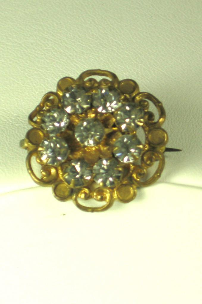 Old Gold Tone Metal and Rhinestone Pin