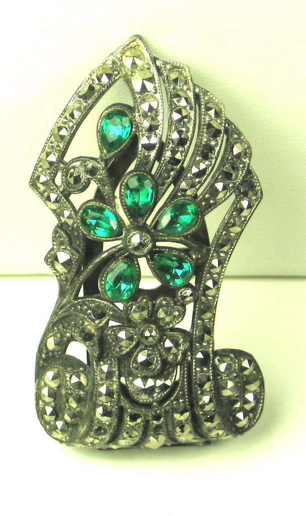 Pot Metal, Marcasite, and Pear Cut Glass Dress Clip