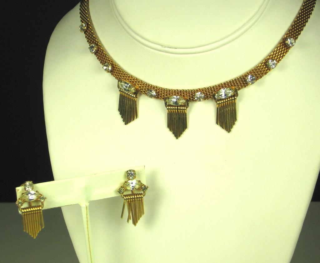Gorgeous Leo Glass Marquise Cut Gemstone Necklace and Earrings