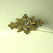 Antique Victorian Gold Tone Metal and Rhinestone Floral Pin