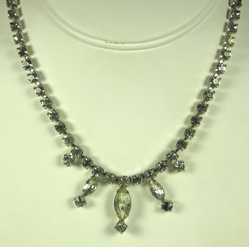 Vintage Gale White Eight Cut and Marquise Cut Gemstone Necklace
