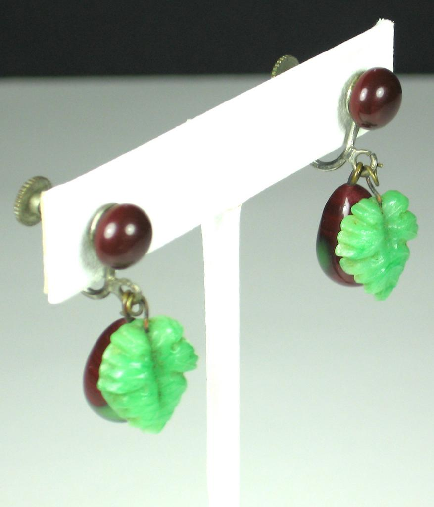 Vintage Glass Floral Fruit Screw Back Earrings