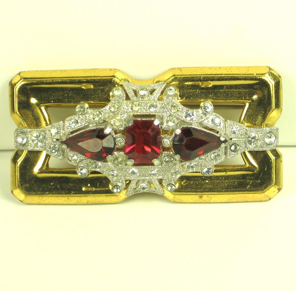 McClelland Barclay Gold Toned Metal and Red Glass Brooch