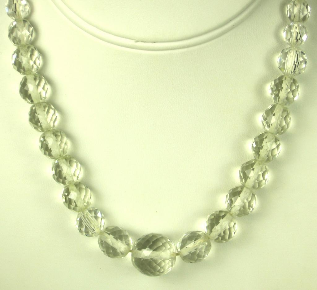 Czechoslovakian Multi-Faceted Crystal Beaded Necklace