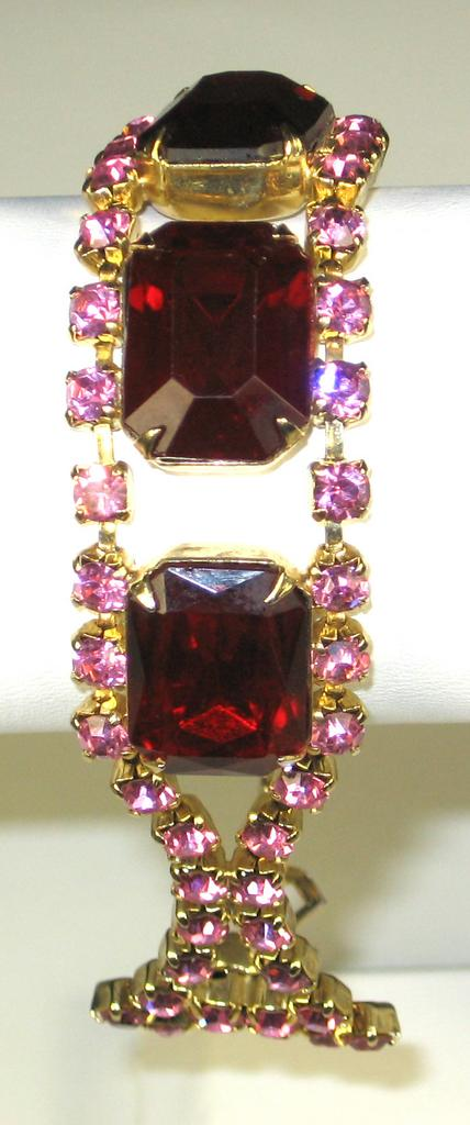 Paste Pink Rhinestone and Red Emerald Cut Stone Bracelet