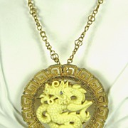 Hattie Carnegie Gold Tone Metal and Imitation Ivory Dragon Necklace