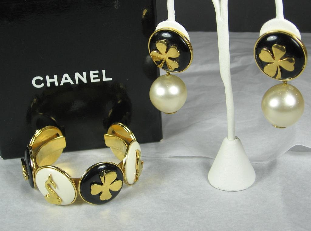 Chanel Imitation Pearl Cuff Bracelet and Matching Earrings
