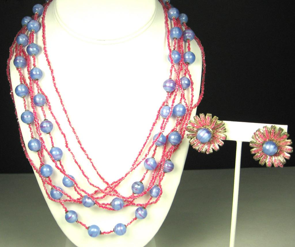Vintage Miriam Haskell Pink and Blue Demi Parure