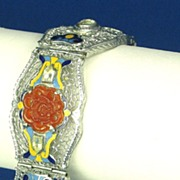 Enamel and Molded Glass with Openwork Filigree H Bracelet