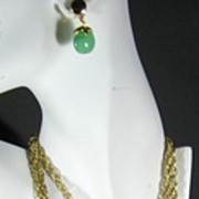 Trifari 3 Strand Green Dangle Necklace and Matching Earrings