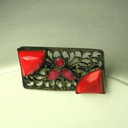 Victorian Brass and Red Glass Floral Pin