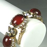 Vintage Hattie Carnegie Carnelian Glass Cabochon Bracelet