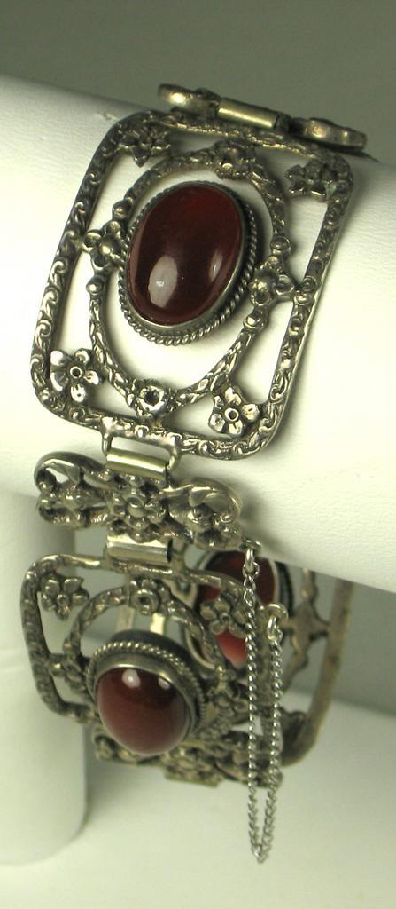 Filigree Metal and Carnelian Cabochon Floral Bracelet