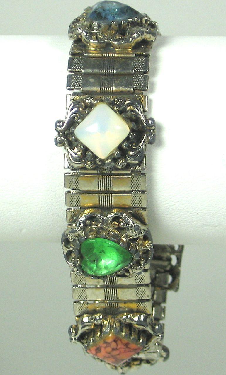 Vintage Glass Jeweled Imitation Pearl Bracelet