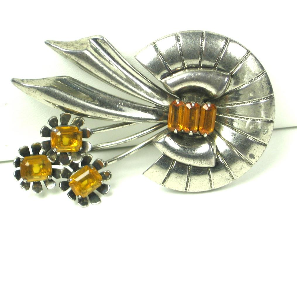 925 Sterling and Amber Colored Glass Floral Pin
