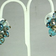 Vendome Aurora Borealis Crystal and Art Glass Bead Earrings