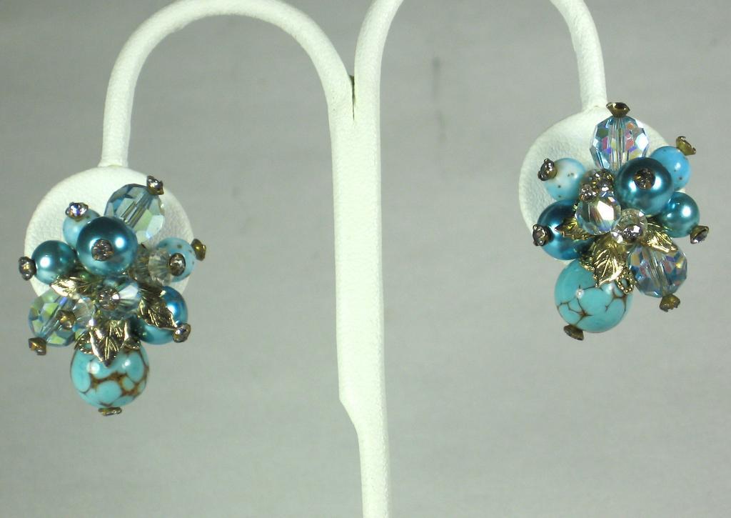 Vendome Aurora Borealis Crystal and Art Glass Bead Earrings