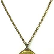 Vintage Ornate White Enamel Cameo Locket Necklace