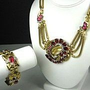 McClelland Barclay Red Glass Necklace and Bracelet