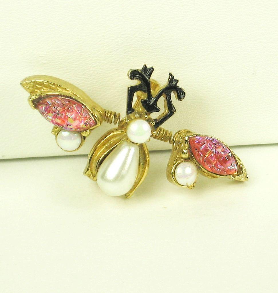 Florenza Aurora Borealis and Imitation Pearl Trembler Fly Pin