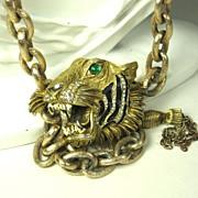 Vintage Hattie Carnegie Enamel Roaring Tiger Pendant Belt