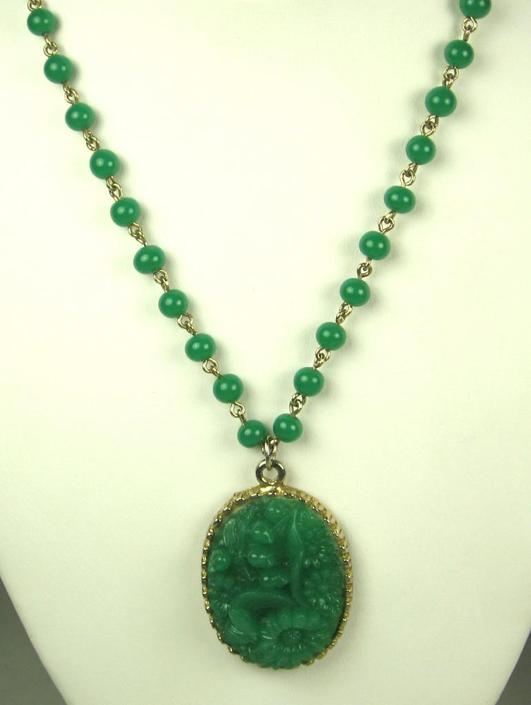 Green Molded Glass Asian Themed Floral Necklace