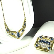 McClelland Barclay Emerald Cut Sapphire Colored Crystal Necklace and Pin
