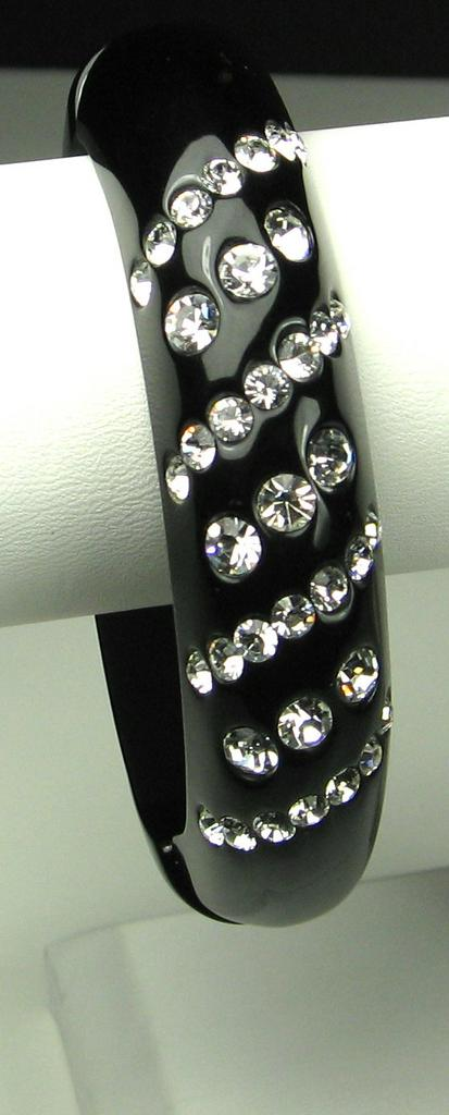 Kenneth Jay Lane Black Plastic and Inset Rhinestone Clamper Bracelet