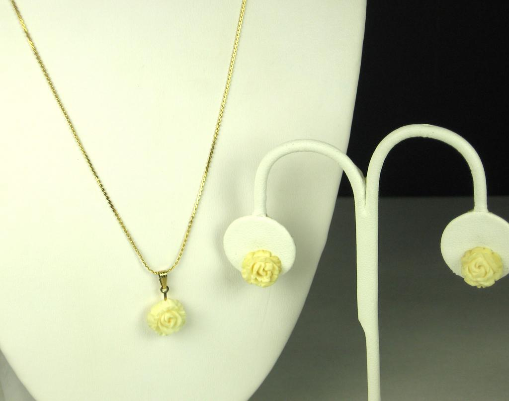Curtman Company 1/20 12kt Gold Fill and Molded Glass Floral Necklace and Earrings