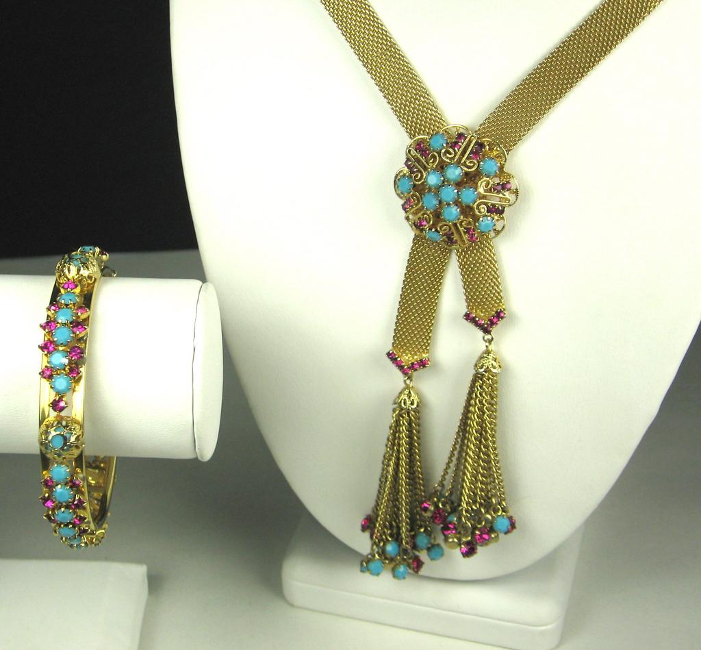 Hattie Carnegie Turquoise Glass Bead and Deep Pink Rhinestone Necklace and Bracelet