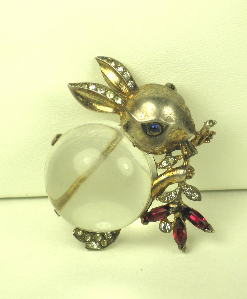 Trifari 925 Sterling and Lucite Jelly Belly Rabbit Pin