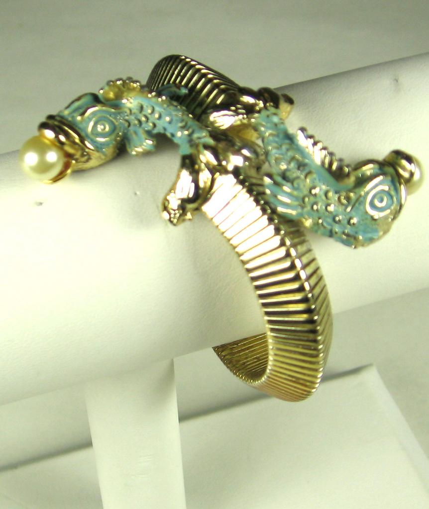 Rare Har Enamel Fish Head Wrap Bracelet with Imitation Pearls