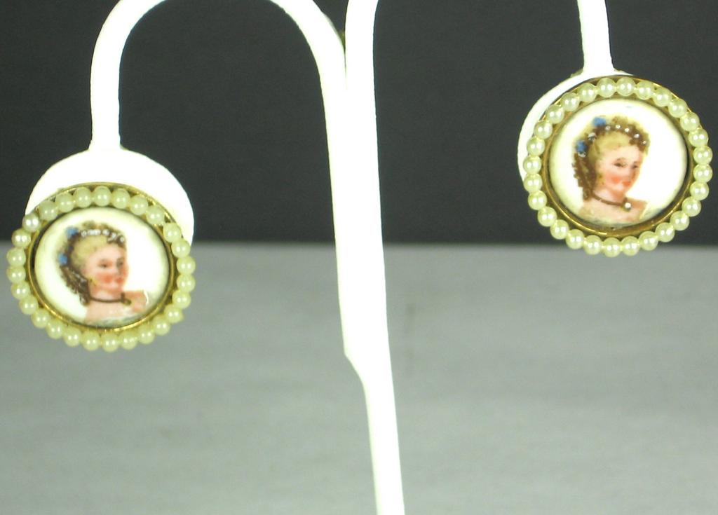 Limoges France Lady In Blue Earrings with Imitation Pearls