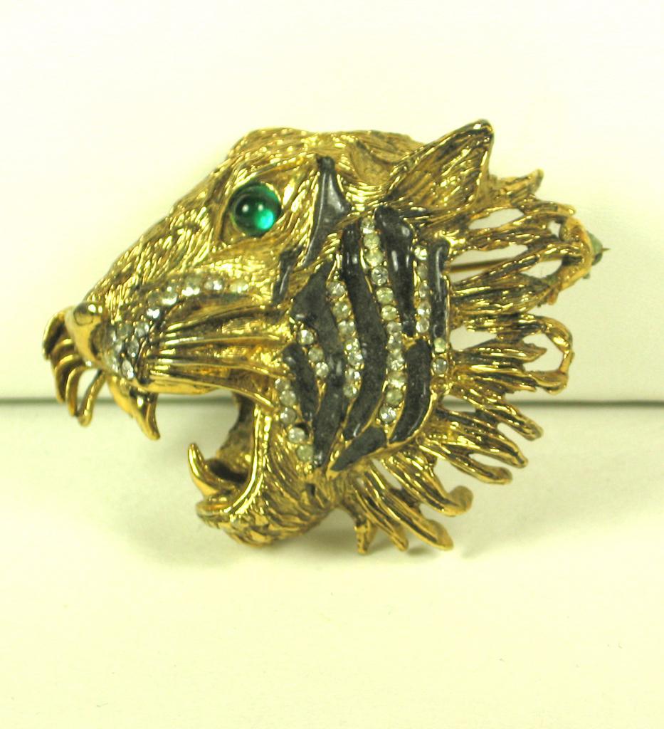 Hattie Carnegie Enamel Roaring Tiger Pin