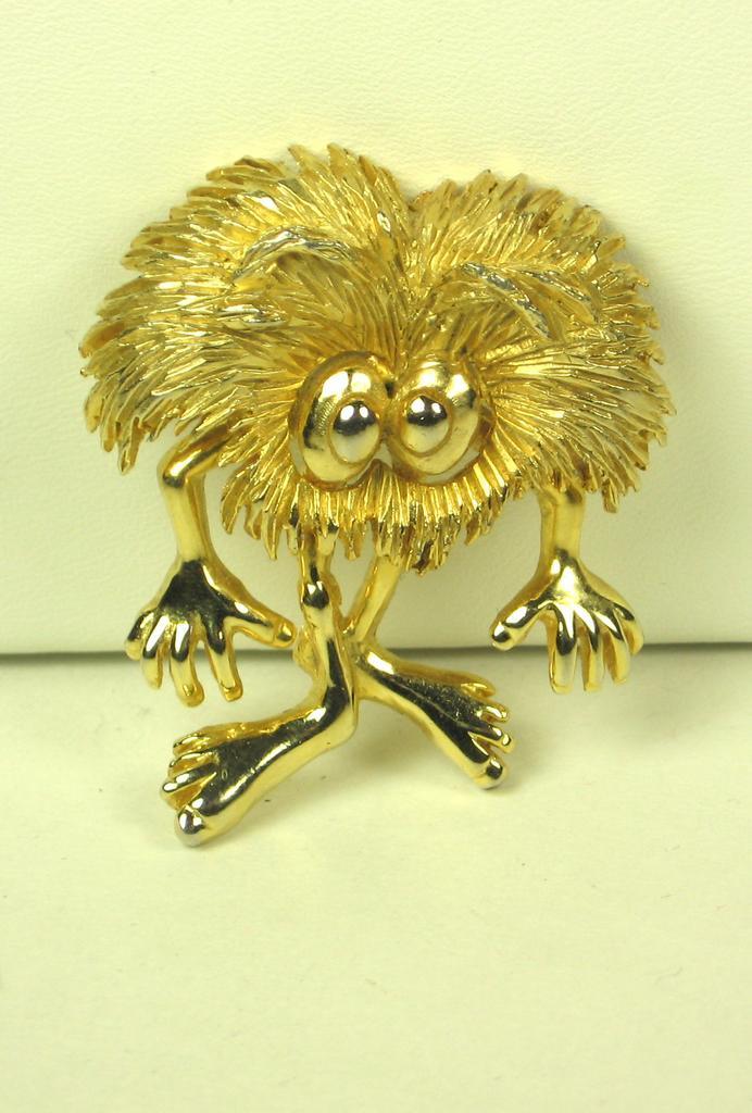 Rare Hattie Carnegie Fuzzy Gold Tone Metal Figural Pin