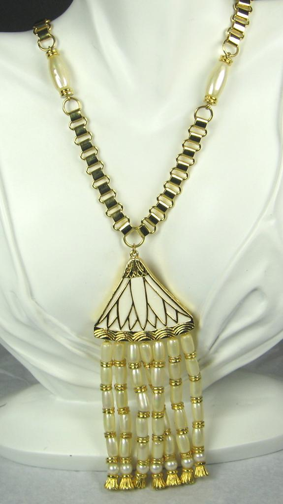 Hattie Carnegie Imitation Pearl and White Enamel Egyptian Revival Necklace