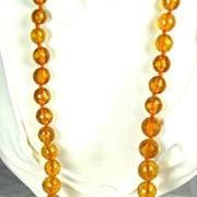 Large Kenneth Jay Lane 1960s Faceted Amber Lucite Bead Necklace