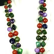 Hattie Carnegie Bakelite, Plastic, and Glass Bead Necklace