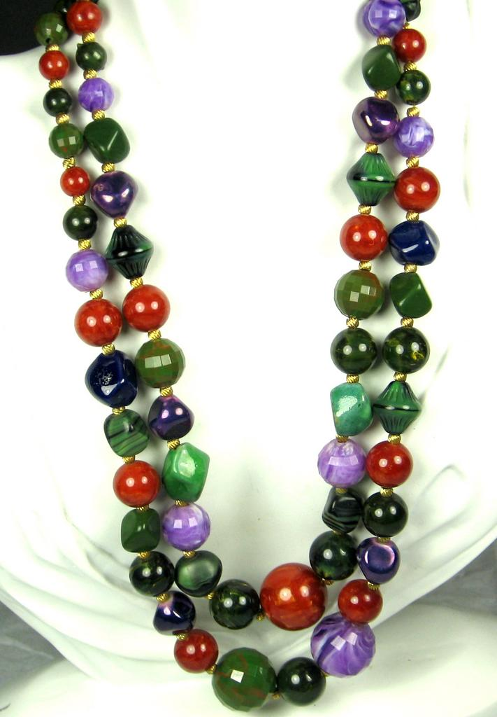 Hattie Carnegie Bakelite, Plastic, and Glass Bead Necklace