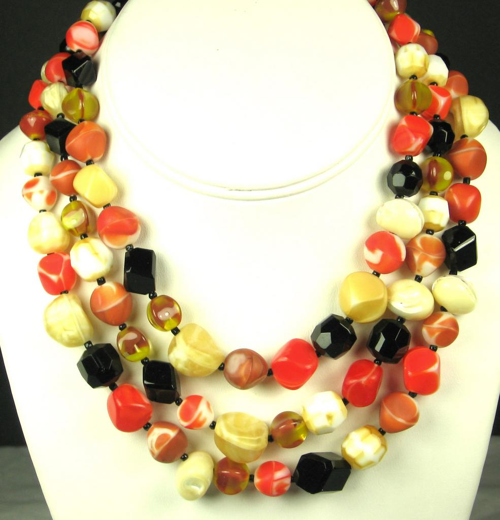 Hattie Carnegie Three Strand Glass Bead Necklace
