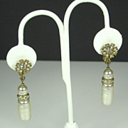 Miriam Haskell Imitation Pearl and Rhinestone Drop Earrings
