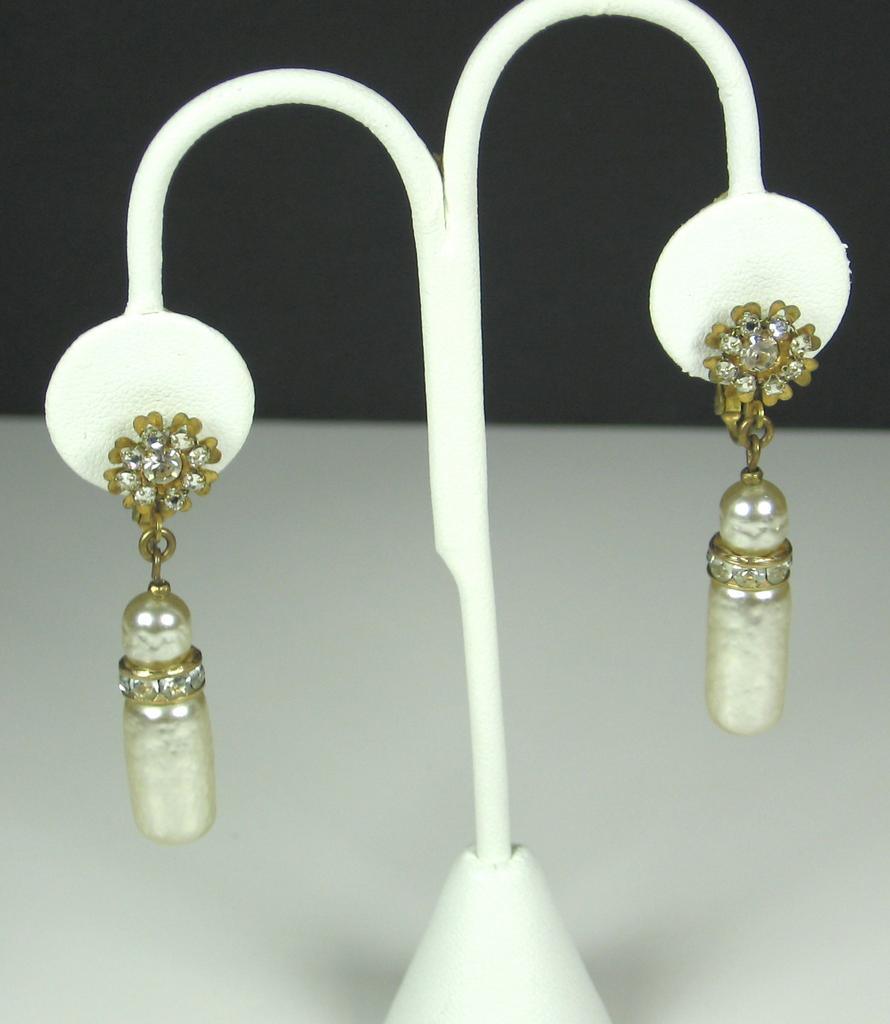 Miriam Haskell Imitation Pearl and Rhinestone Drop Earrings