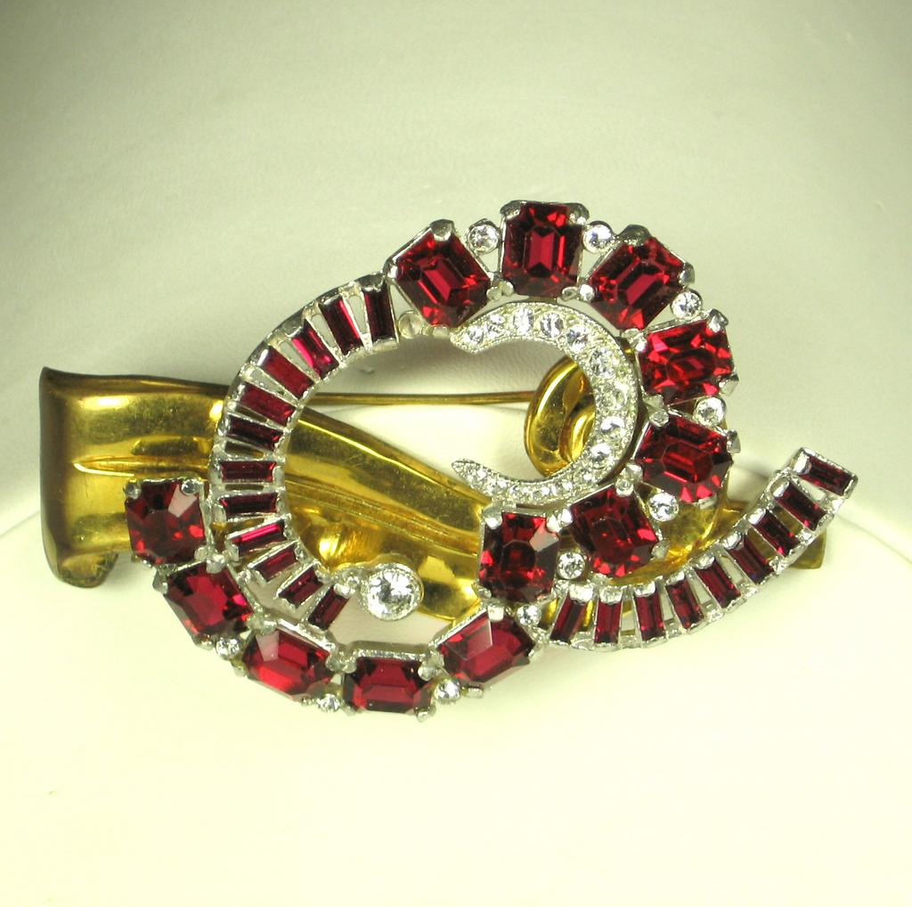 Art Deco McClelland Barclay Red Glass Stone Pin