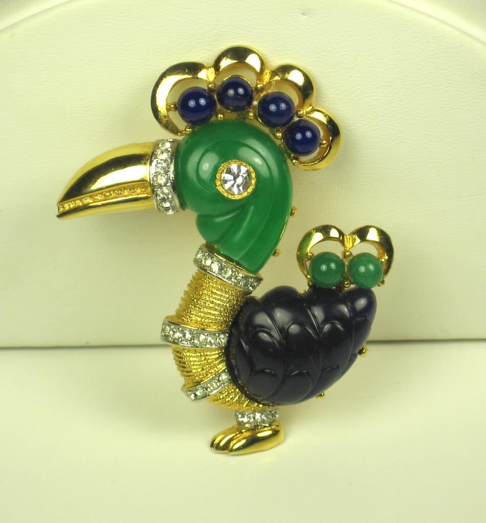 Hattie Carnegie Navy Blue and Green Parrot Pin