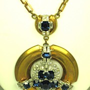 Art Deco McClelland Barclay Sapphire Glass Necklace