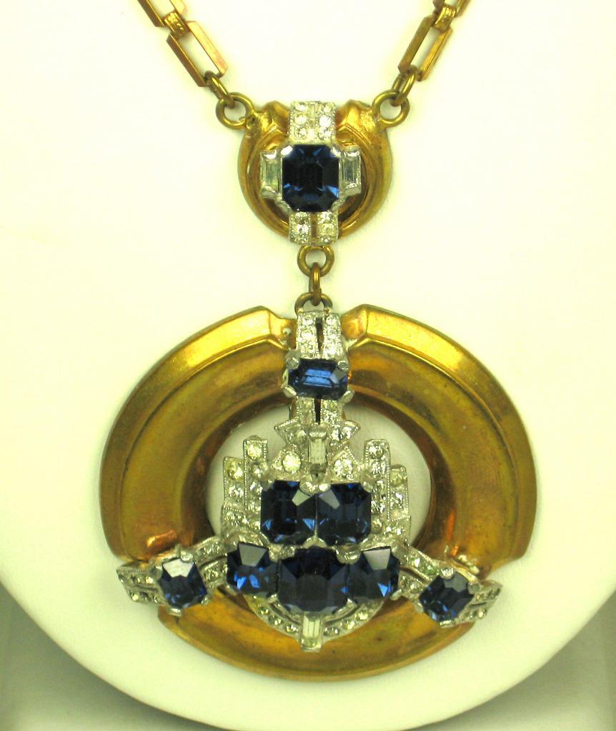 Art Deco McClelland Barclay Sapphire Glass Necklace